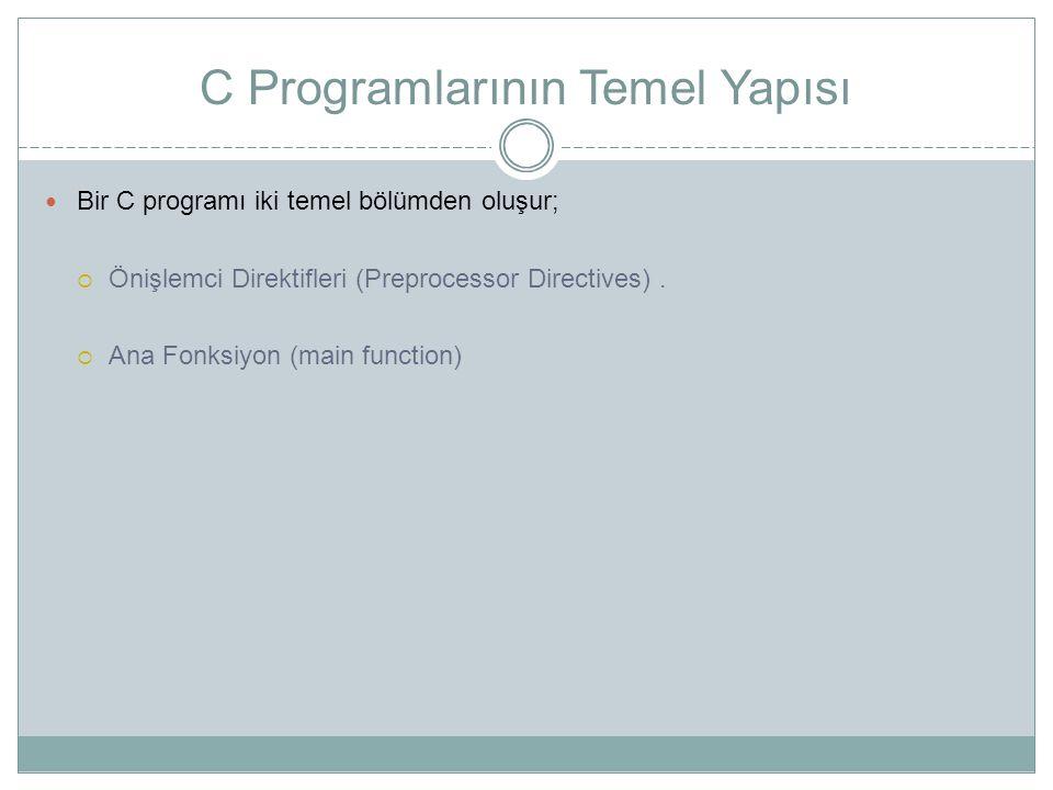 C Programlarının Temel Yapısı