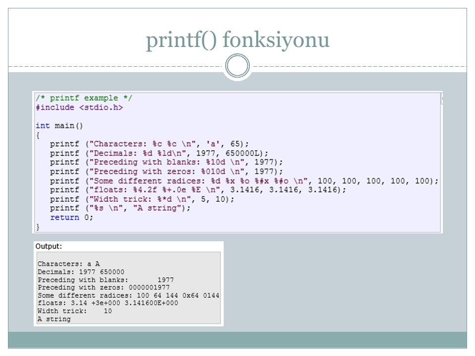 printf() fonksiyonu