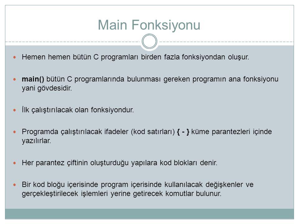 Main Fonksiyonu Hemen hemen bütün C programları birden fazla fonksiyondan oluşur.
