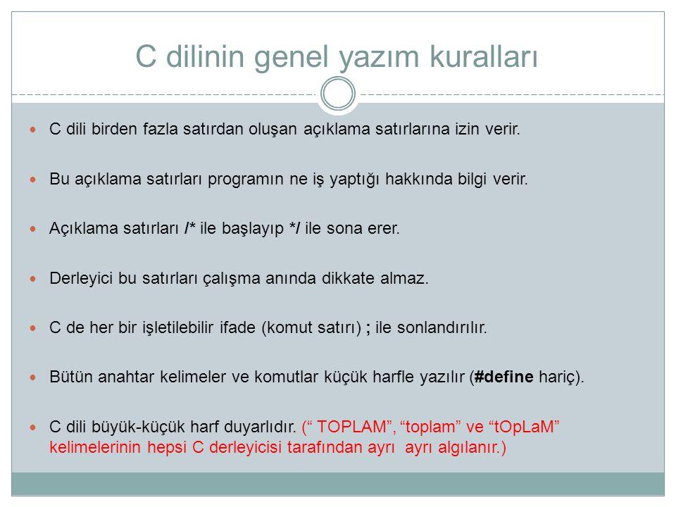 C dilinin genel yazım kuralları