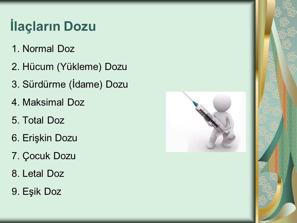 İlaçların Dozu 1. Normal Doz 2. Hücum (Yükleme) Dozu