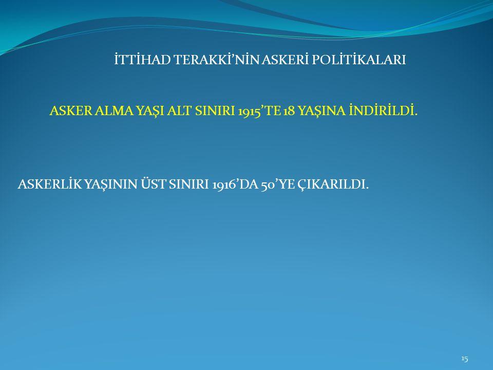 ASKER ALMA YAŞI ALT SINIRI 1915'TE 18 YAŞINA İNDİRİLDİ.