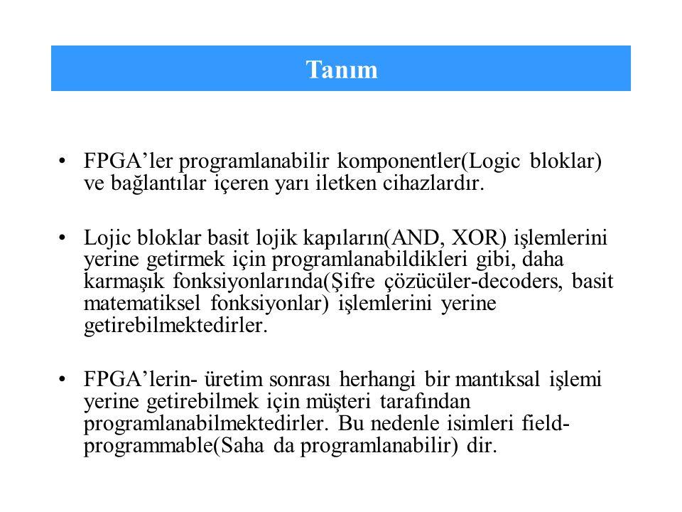 Tanım FPGA'ler programlanabilir komponentler(Logic bloklar) ve bağlantılar içeren yarı iletken cihazlardır.