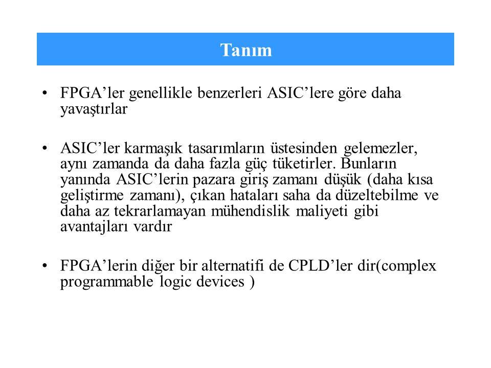 Tanım FPGA'ler genellikle benzerleri ASIC'lere göre daha yavaştırlar
