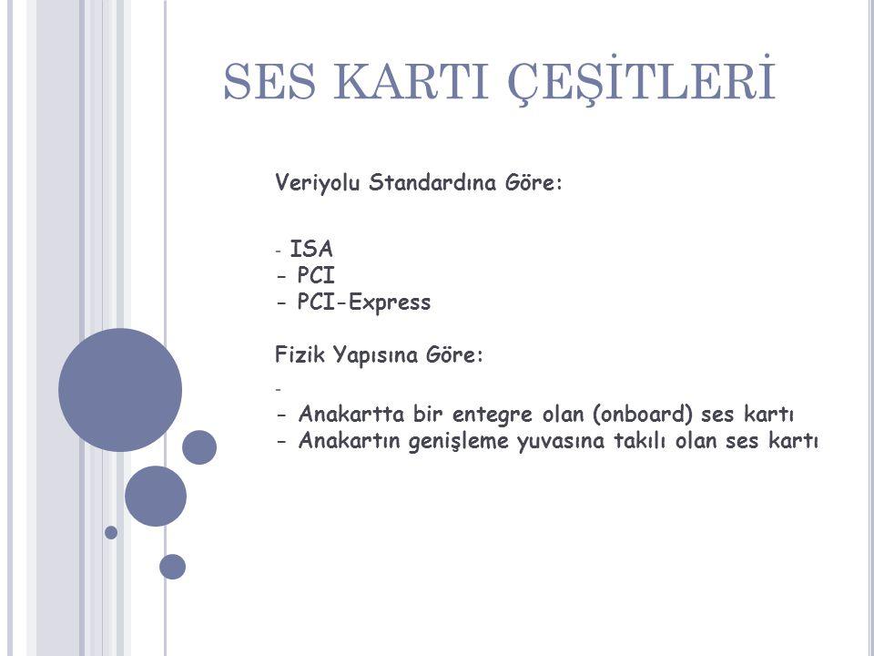 SES KARTI ÇEŞİTLERİ Veriyolu Standardına Göre: