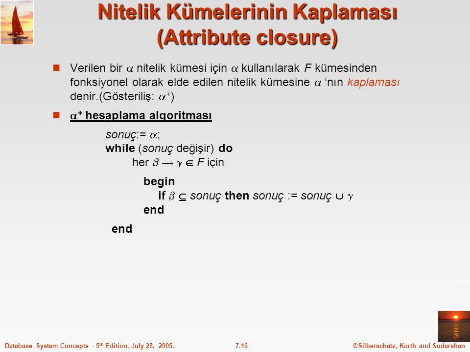 Nitelik Kümelerinin Kaplaması (Attribute closure)