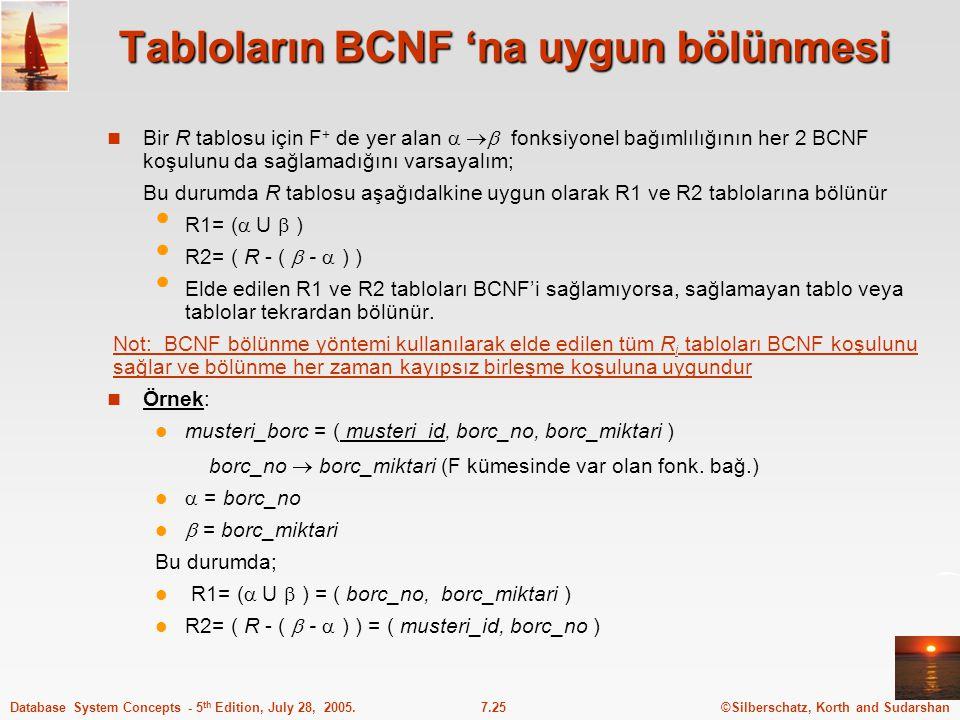 Tabloların BCNF 'na uygun bölünmesi