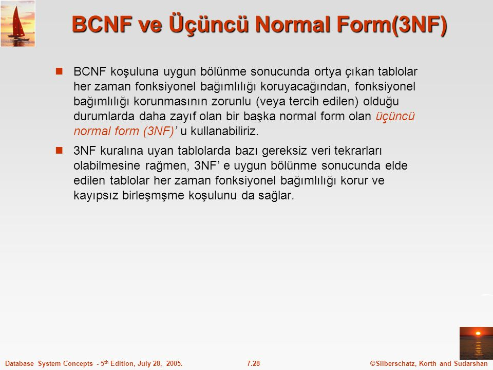 BCNF ve Üçüncü Normal Form(3NF)
