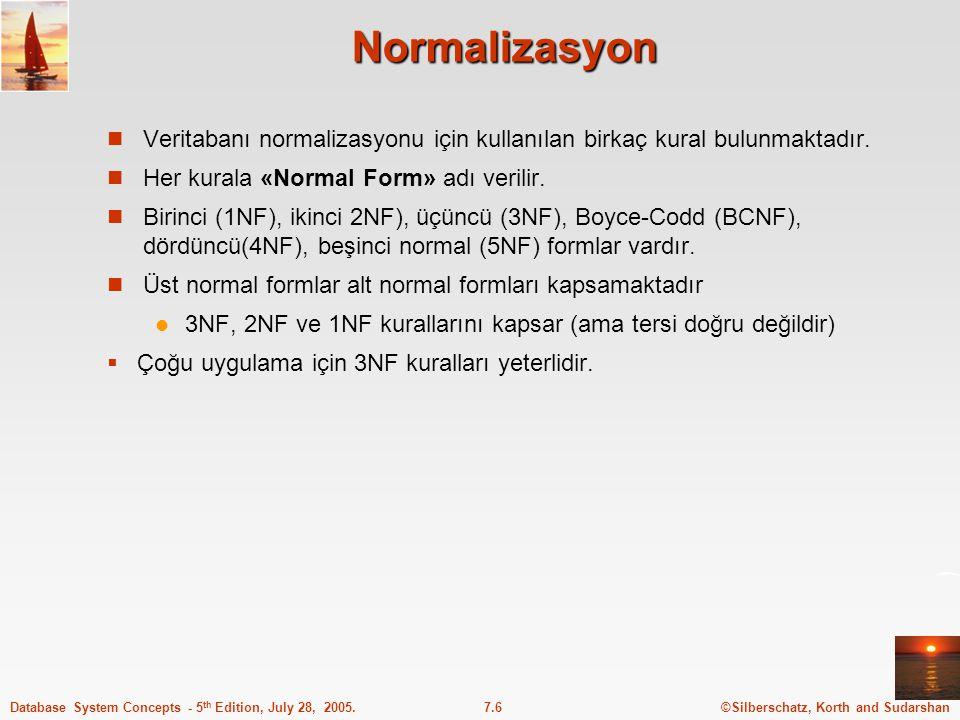 Normalizasyon Veritabanı normalizasyonu için kullanılan birkaç kural bulunmaktadır. Her kurala «Normal Form» adı verilir.