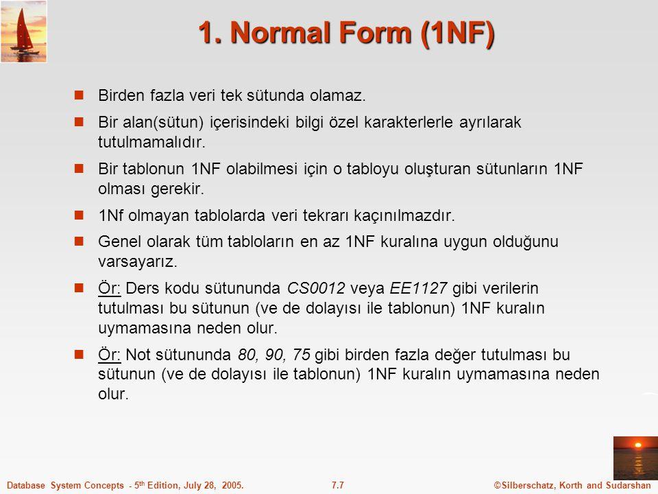 1. Normal Form (1NF) Birden fazla veri tek sütunda olamaz.