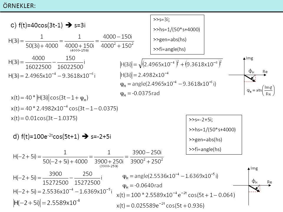 d) f(t)=100e-2tcos(5t+1)  s=-2+5i