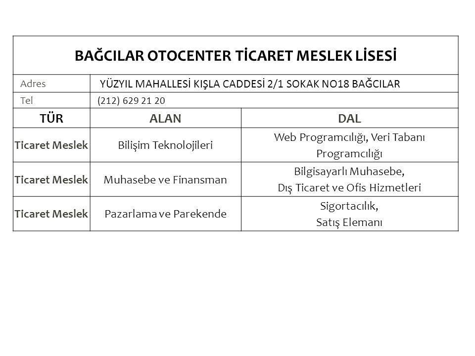 BAĞCILAR OTOCENTER TİCARET MESLEK LİSESİ