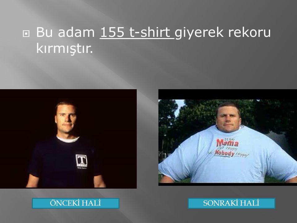 Bu adam 155 t-shirt giyerek rekoru kırmıştır.