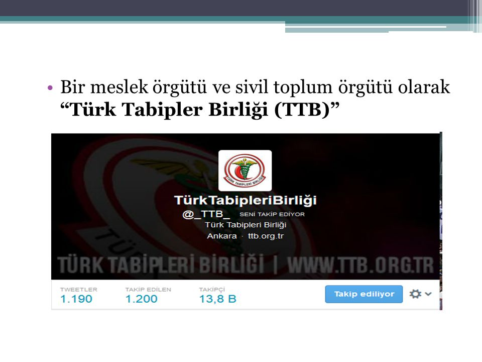 Bir meslek örgütü ve sivil toplum örgütü olarak Türk Tabipler Birliği (TTB)