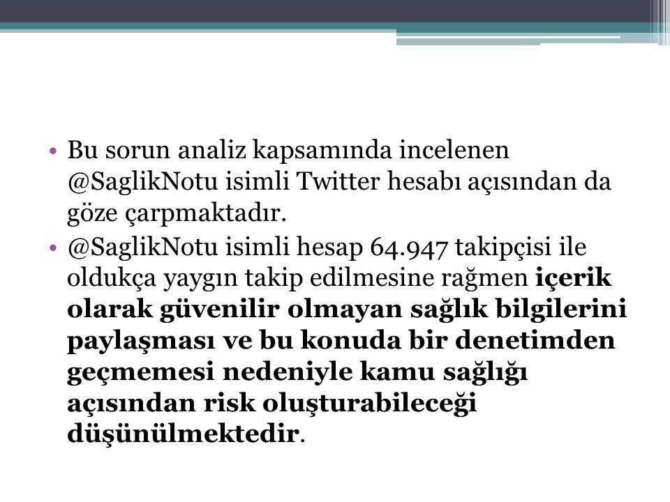 Bu sorun analiz kapsamında incelenen @SaglikNotu isimli Twitter hesabı açısından da göze çarpmaktadır.