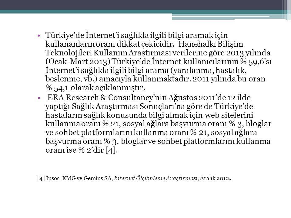 Türkiye'de İnternet'i sağlıkla ilgili bilgi aramak için kullananların oranı dikkat çekicidir. Hanehalkı Bilişim Teknolojileri Kullanım Araştırması verilerine göre 2013 yılında (Ocak-Mart 2013) Türkiye'de İnternet kullanıcılarının % 59,6'sı İnternet'i sağlıkla ilgili bilgi arama (yaralanma, hastalık, beslenme, vb.) amacıyla kullanmaktadır. 2011 yılında bu oran % 54,1 olarak açıklanmıştır.