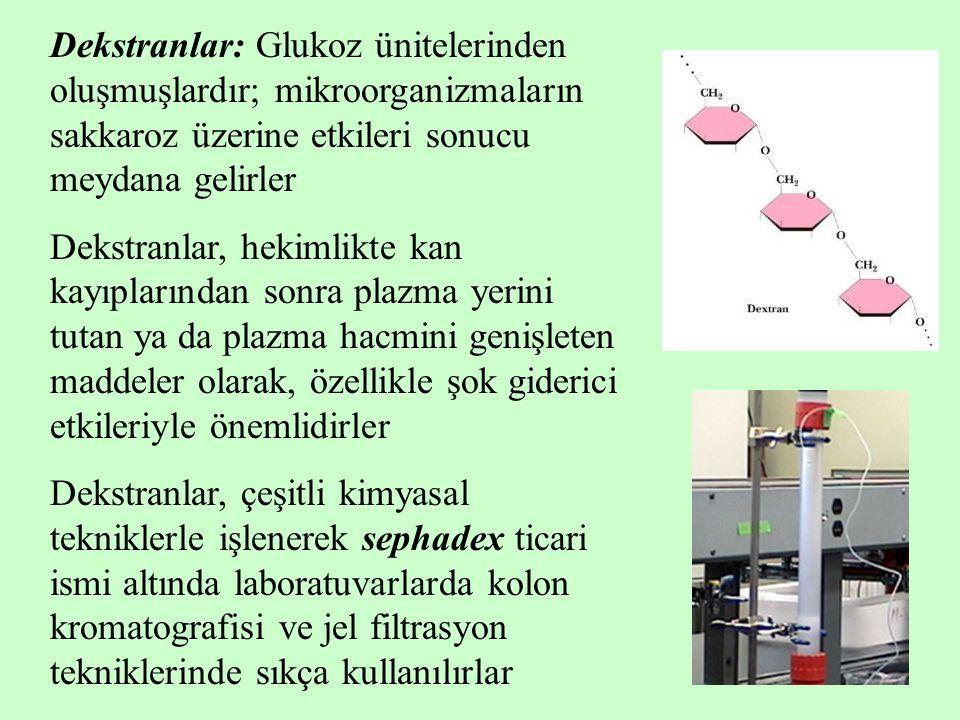Dekstranlar: Glukoz ünitelerinden oluşmuşlardır; mikroorganizmaların sakkaroz üzerine etkileri sonucu meydana gelirler