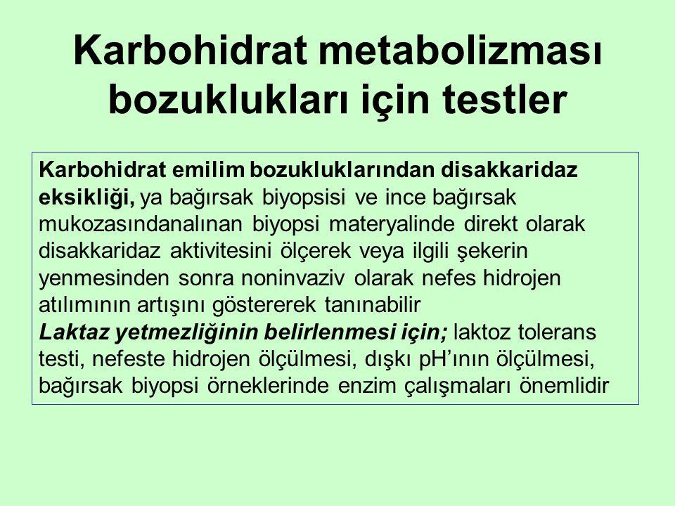 Karbohidrat metabolizması bozuklukları için testler