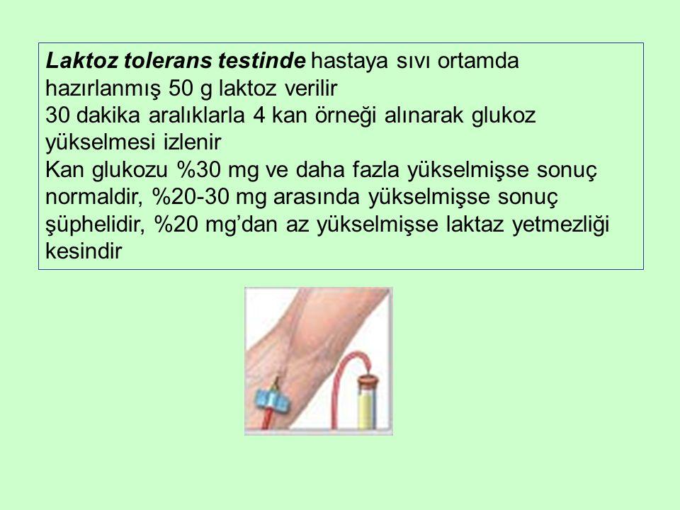 Laktoz tolerans testinde hastaya sıvı ortamda hazırlanmış 50 g laktoz verilir