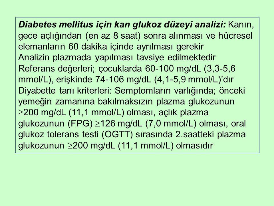Diabetes mellitus için kan glukoz düzeyi analizi: Kanın, gece açlığından (en az 8 saat) sonra alınması ve hücresel elemanların 60 dakika içinde ayrılması gerekir