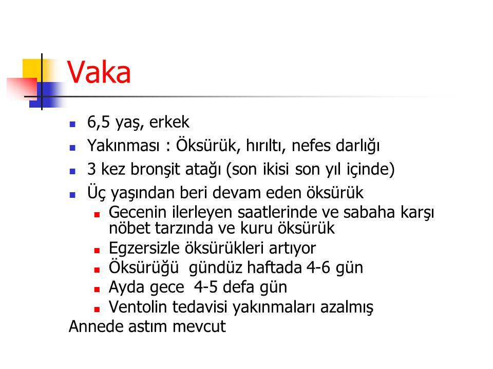 Vaka 6,5 yaş, erkek Yakınması : Öksürük, hırıltı, nefes darlığı