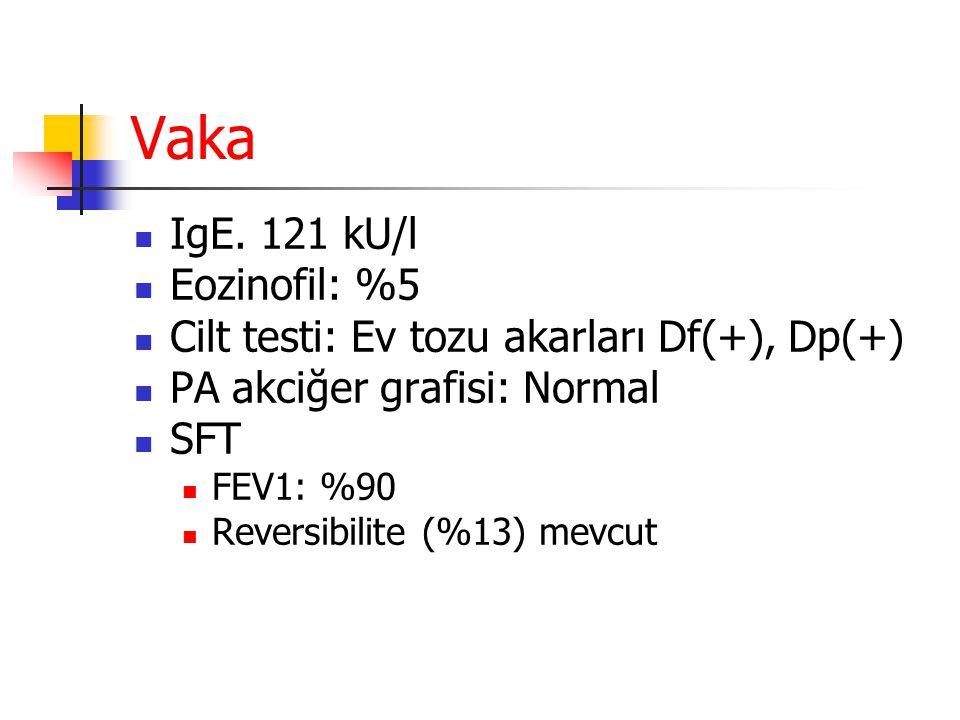Vaka IgE. 121 kU/l Eozinofil: %5