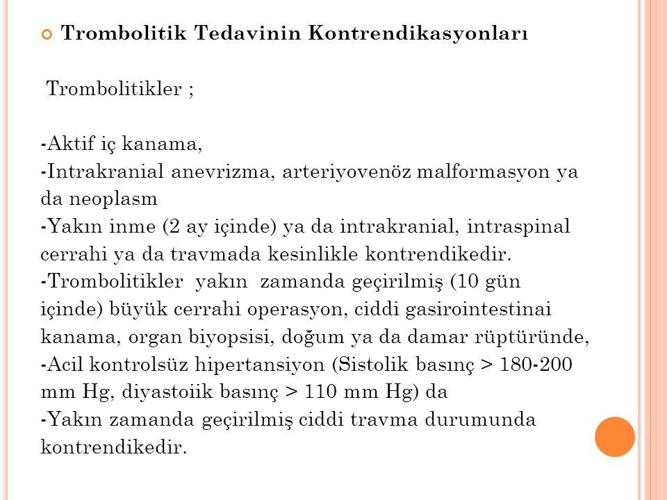 Trombolitik Tedavinin Kontrendikasyonları