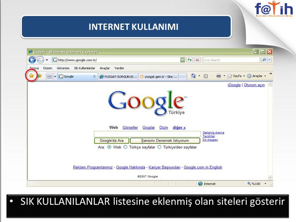 SIK KULLANILANLAR listesine eklenmiş olan siteleri gösterir