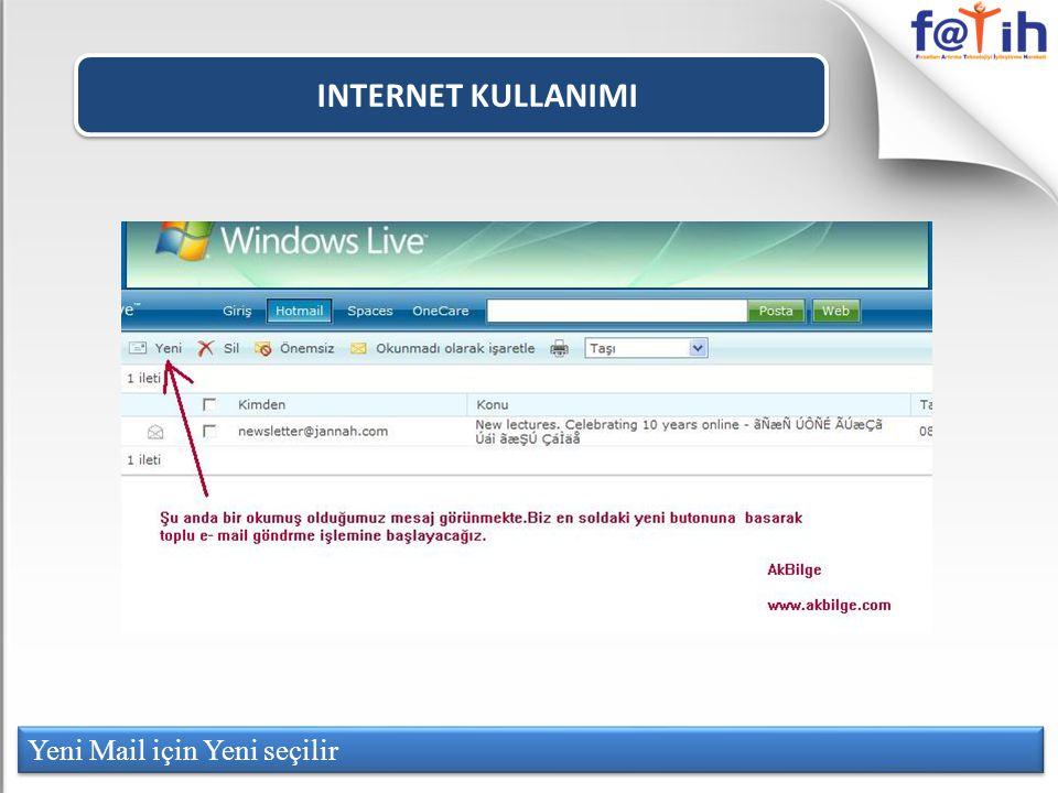 INTERNET KULLANIMI Yeni Mail için Yeni seçilir