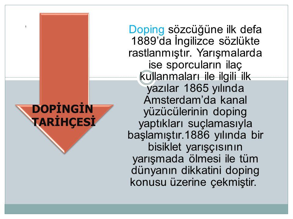 Doping sözcüğüne ilk defa 1889'da İngilizce sözlükte rastlanmıştır