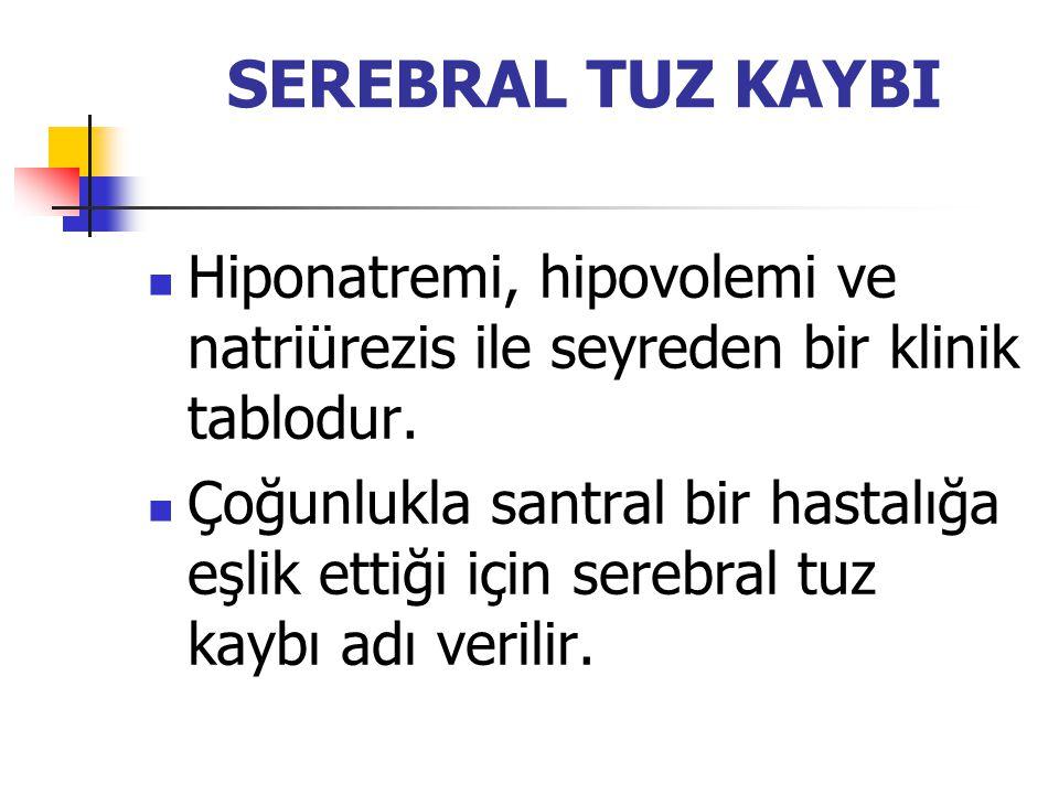 SEREBRAL TUZ KAYBI Hiponatremi, hipovolemi ve natriürezis ile seyreden bir klinik tablodur.