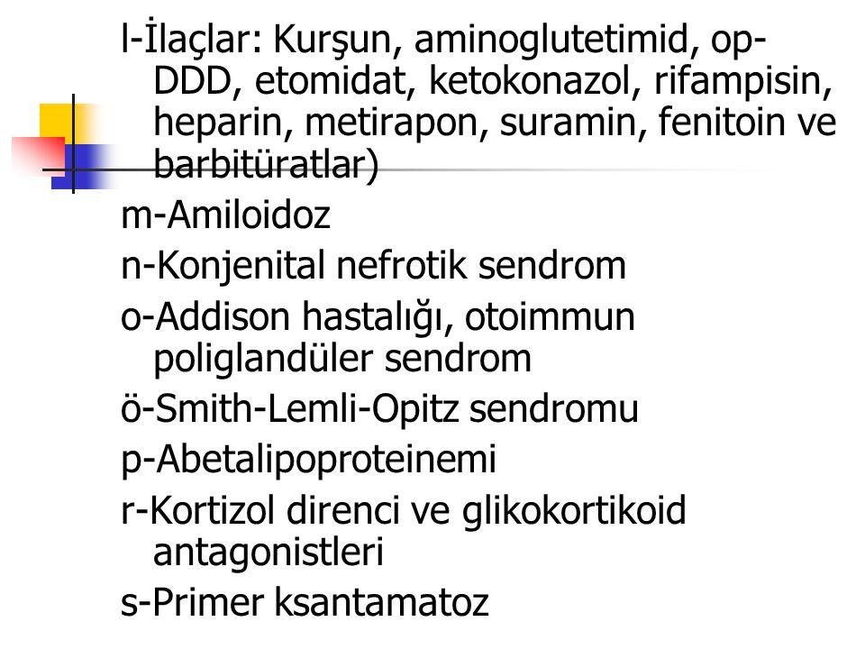 l-İlaçlar: Kurşun, aminoglutetimid, op-DDD, etomidat, ketokonazol, rifampisin, heparin, metirapon, suramin, fenitoin ve barbitüratlar)