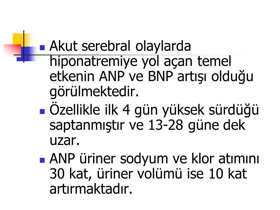 Akut serebral olaylarda hiponatremiye yol açan temel etkenin ANP ve BNP artışı olduğu görülmektedir.
