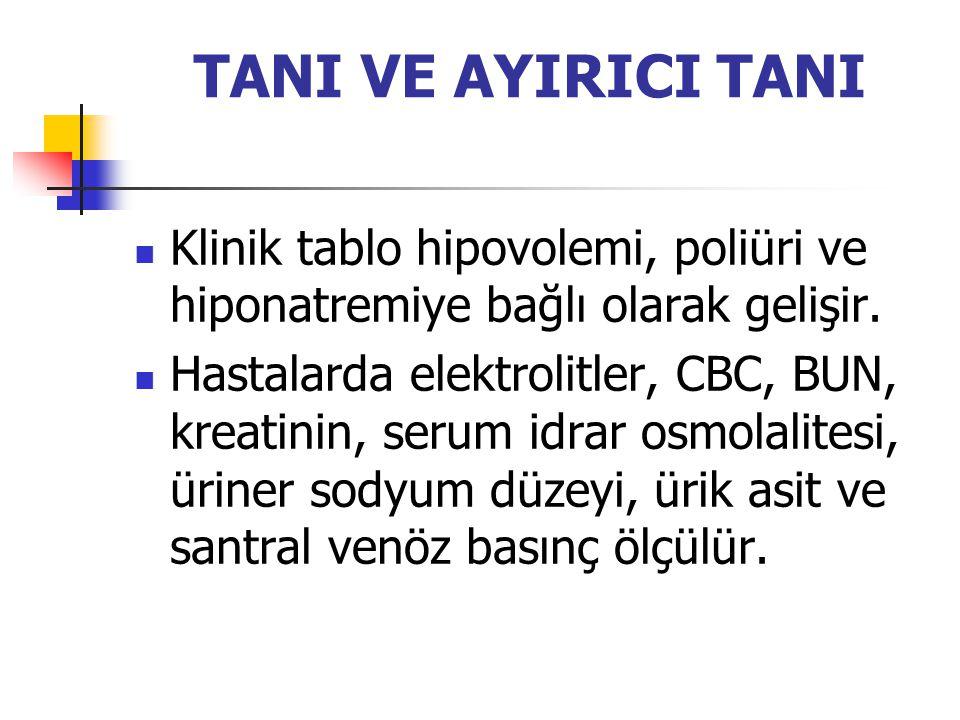TANI VE AYIRICI TANI Klinik tablo hipovolemi, poliüri ve hiponatremiye bağlı olarak gelişir.