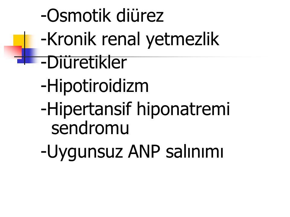 -Osmotik diürez -Kronik renal yetmezlik. -Diüretikler. -Hipotiroidizm. -Hipertansif hiponatremi sendromu.