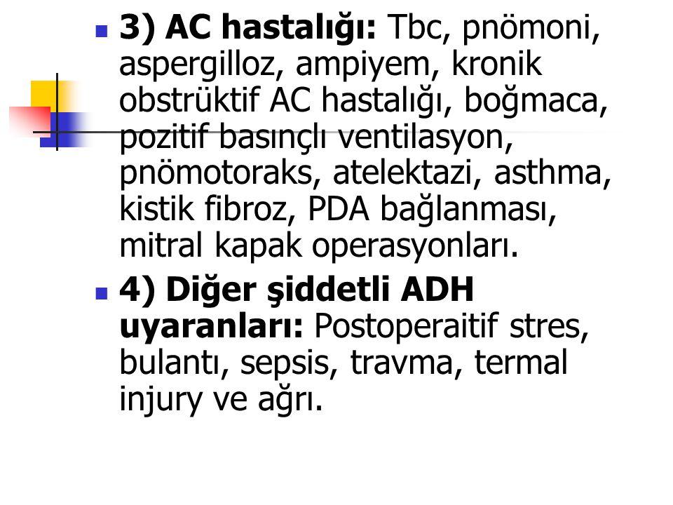 3) AC hastalığı: Tbc, pnömoni, aspergilloz, ampiyem, kronik obstrüktif AC hastalığı, boğmaca, pozitif basınçlı ventilasyon, pnömotoraks, atelektazi, asthma, kistik fibroz, PDA bağlanması, mitral kapak operasyonları.