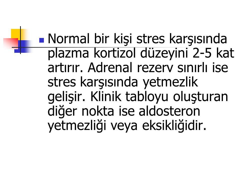 Normal bir kişi stres karşısında plazma kortizol düzeyini 2-5 kat artırır.