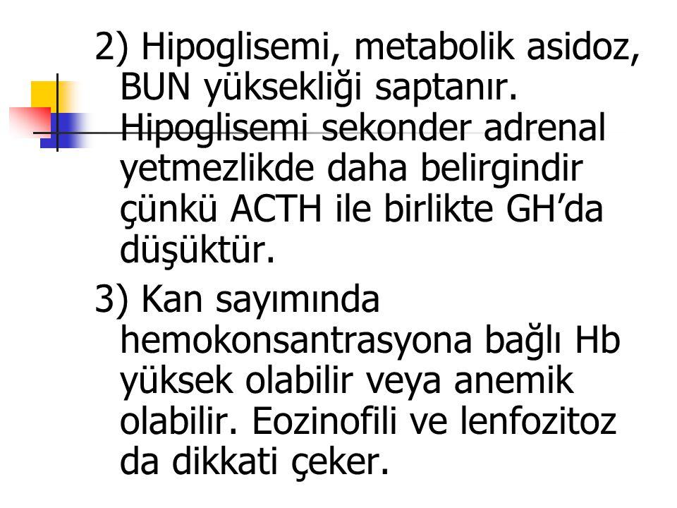 2) Hipoglisemi, metabolik asidoz, BUN yüksekliği saptanır