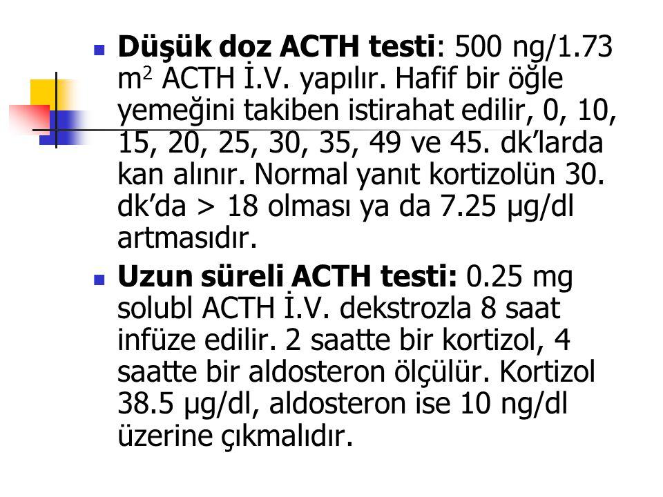 Düşük doz ACTH testi: 500 ng/1. 73 m2 ACTH İ. V. yapılır