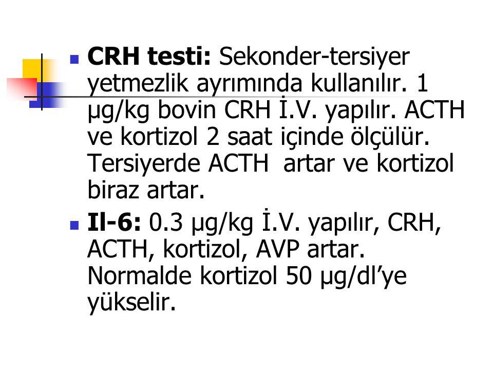 CRH testi: Sekonder-tersiyer yetmezlik ayrımında kullanılır
