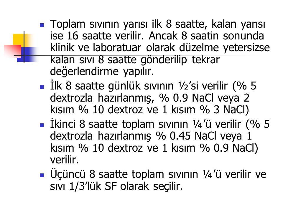Toplam sıvının yarısı ilk 8 saatte, kalan yarısı ise 16 saatte verilir