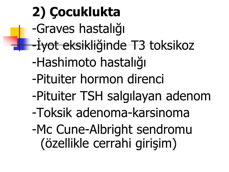 2) Çocuklukta -Graves hastalığı. -İyot eksikliğinde T3 toksikoz. -Hashimoto hastalığı. -Pituiter hormon direnci.