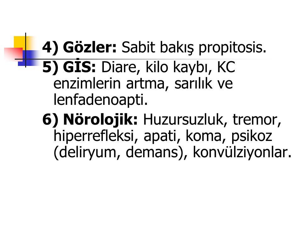 4) Gözler: Sabit bakış propitosis.