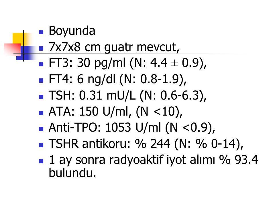 Boyunda 7x7x8 cm guatr mevcut, FT3: 30 pg/ml (N: 4.4 ± 0.9), FT4: 6 ng/dl (N: 0.8-1.9), TSH: 0.31 mU/L (N: 0.6-6.3),