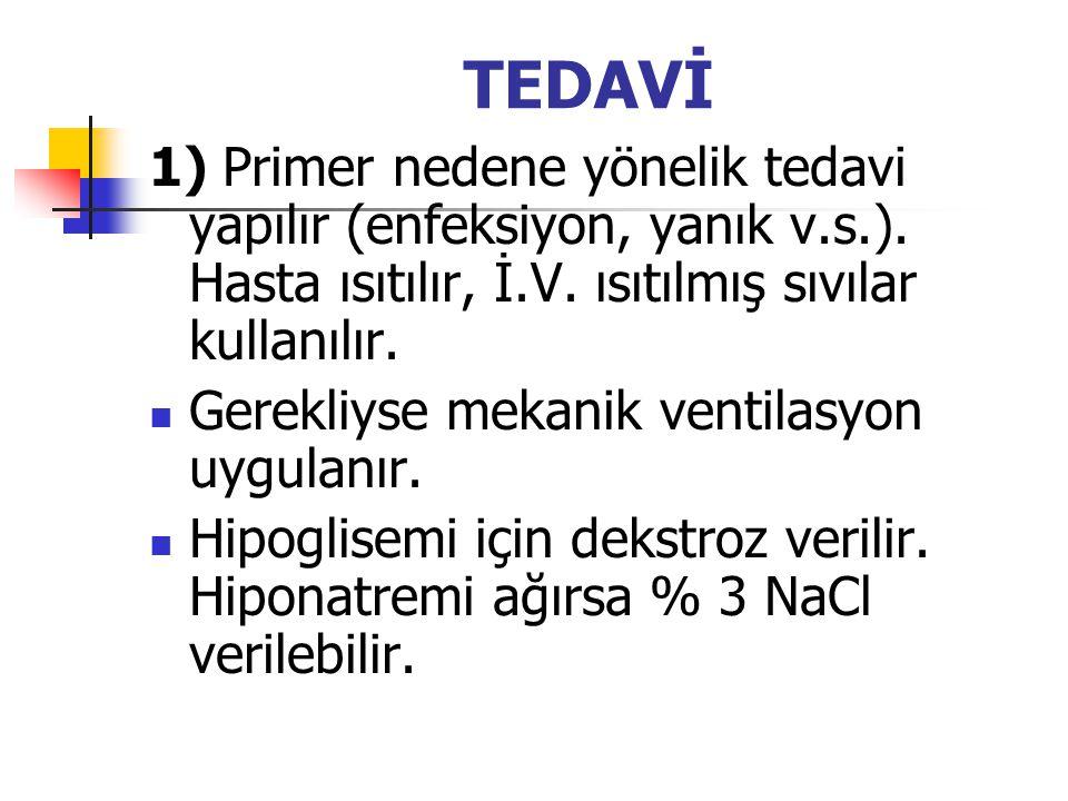 TEDAVİ 1) Primer nedene yönelik tedavi yapılır (enfeksiyon, yanık v.s.). Hasta ısıtılır, İ.V. ısıtılmış sıvılar kullanılır.