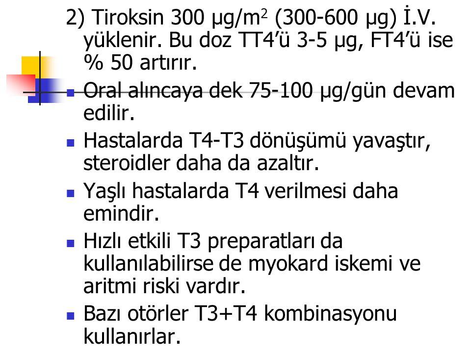 2) Tiroksin 300 µg/m2 (300-600 µg) İ. V. yüklenir