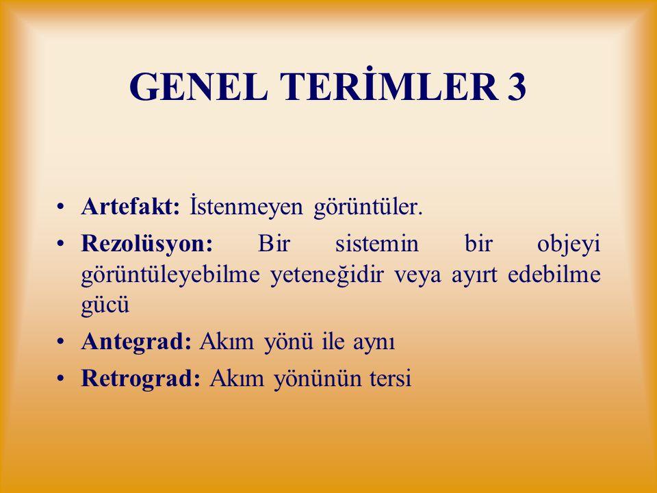 GENEL TERİMLER 3 Artefakt: İstenmeyen görüntüler.