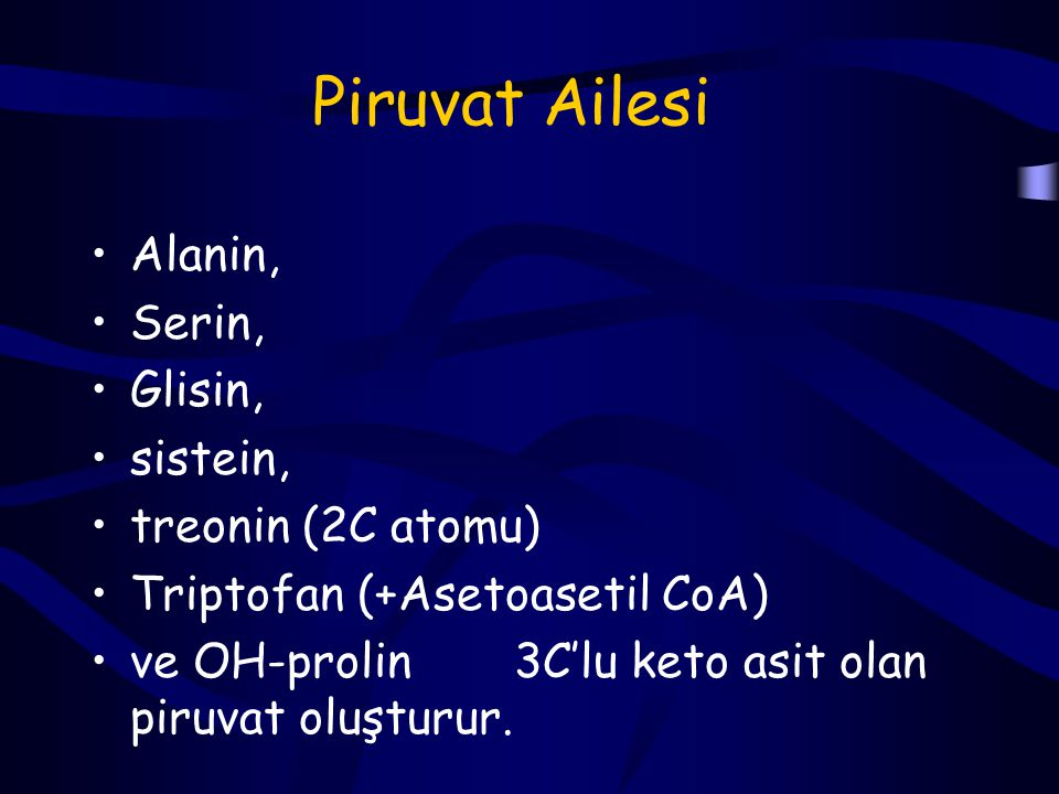 Piruvat Ailesi Alanin, Serin, Glisin, sistein, treonin (2C atomu)