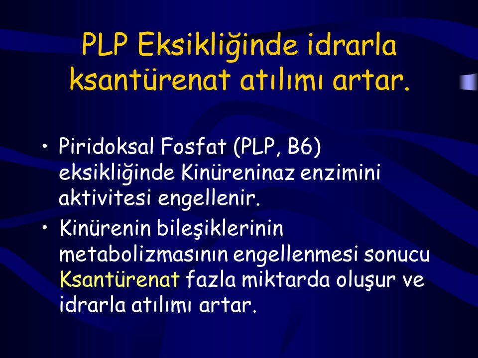 PLP Eksikliğinde idrarla ksantürenat atılımı artar.