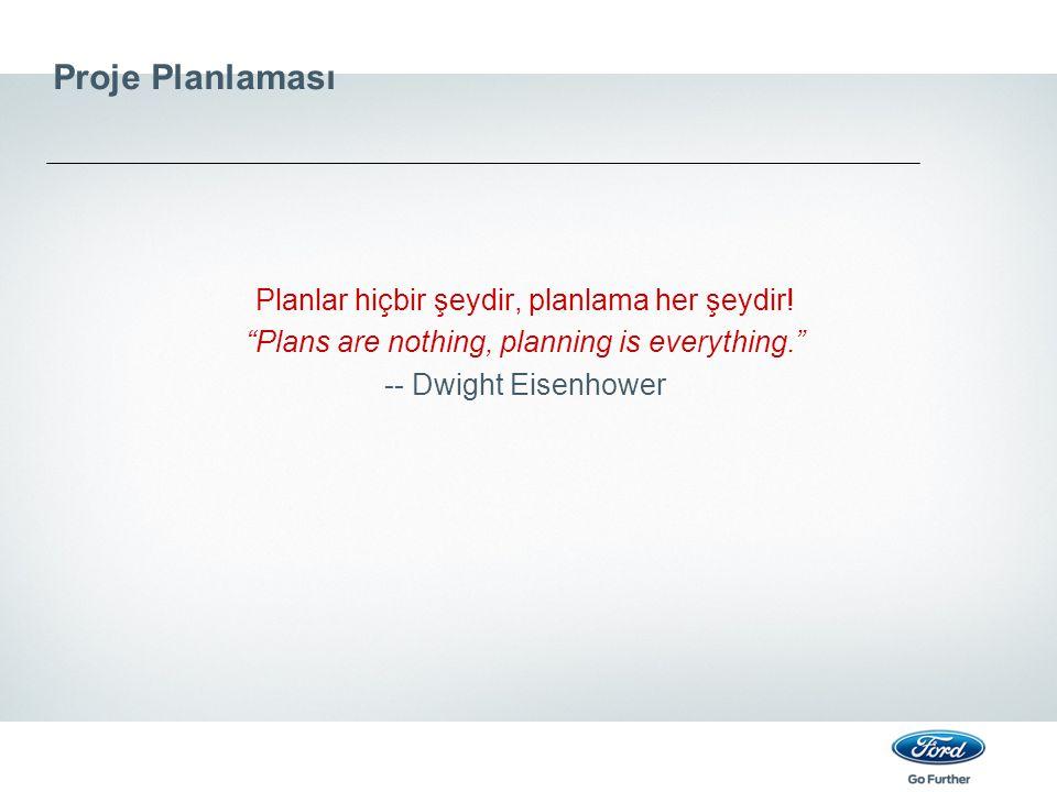 Proje Planlaması Planlar hiçbir şeydir, planlama her şeydir!